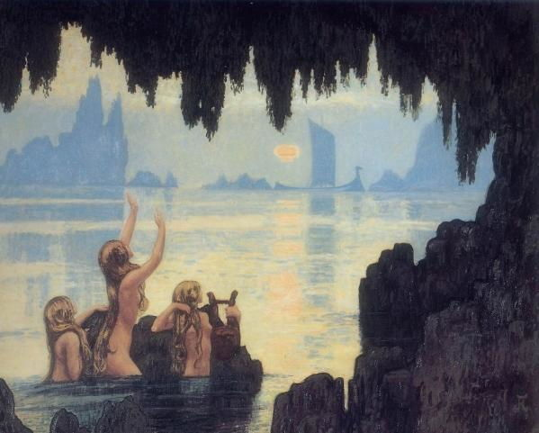 Picture Of Mermaids By Jean Francis Aubertin