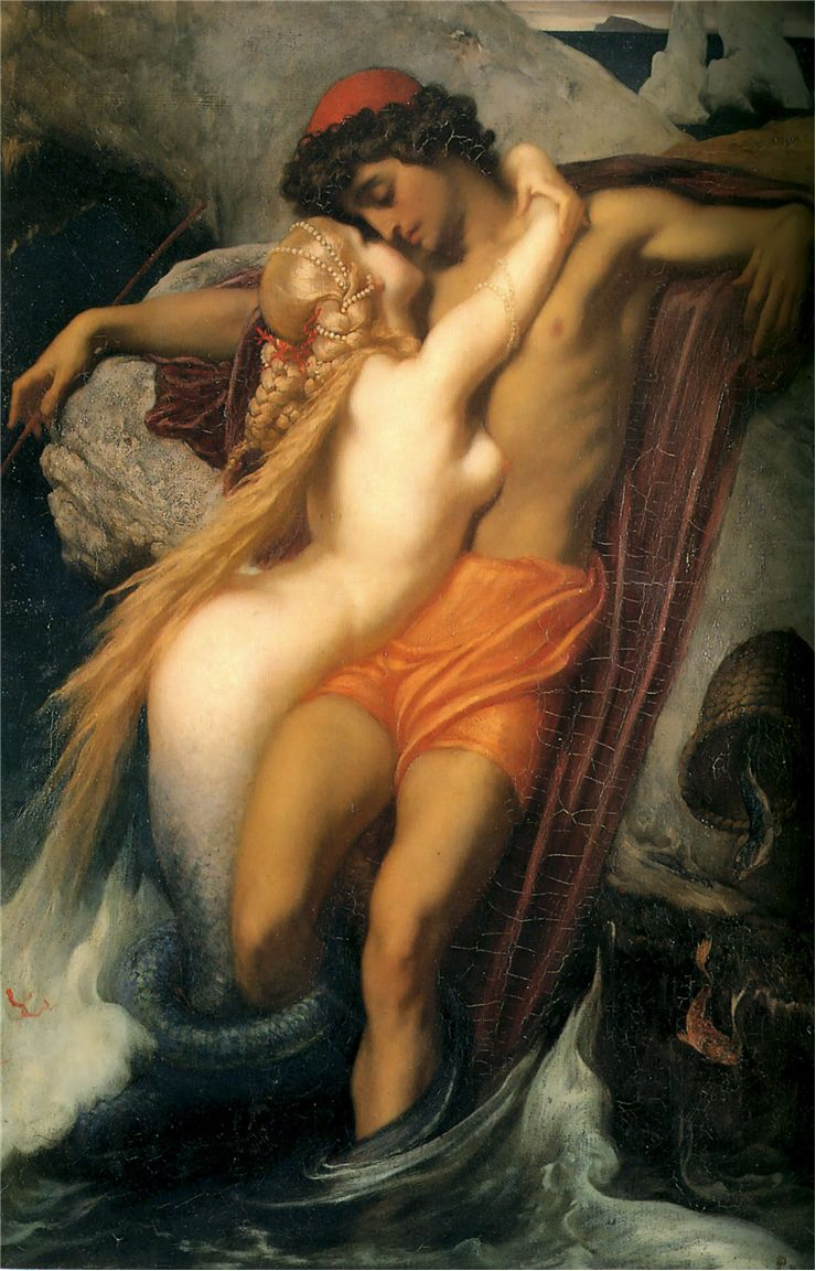 Picture Of The Fisherman And The Syren By Frederic Leighton