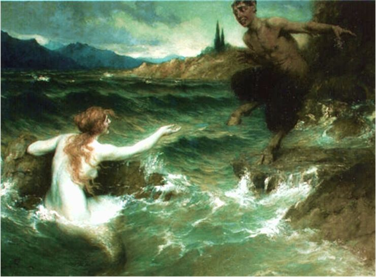 Picture Of The Mermaid And The Satyr